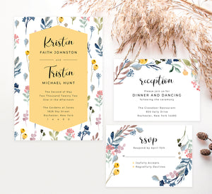 Yellow and Florals wedding invitation and set