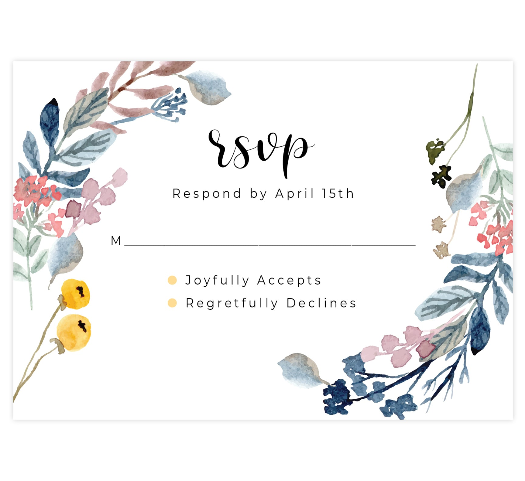 Yellow and Florals wedding response card; white background with black text and floral on either side