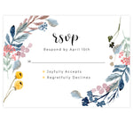 Load image into Gallery viewer, Yellow and Florals wedding response card; white background with black text and floral on either side