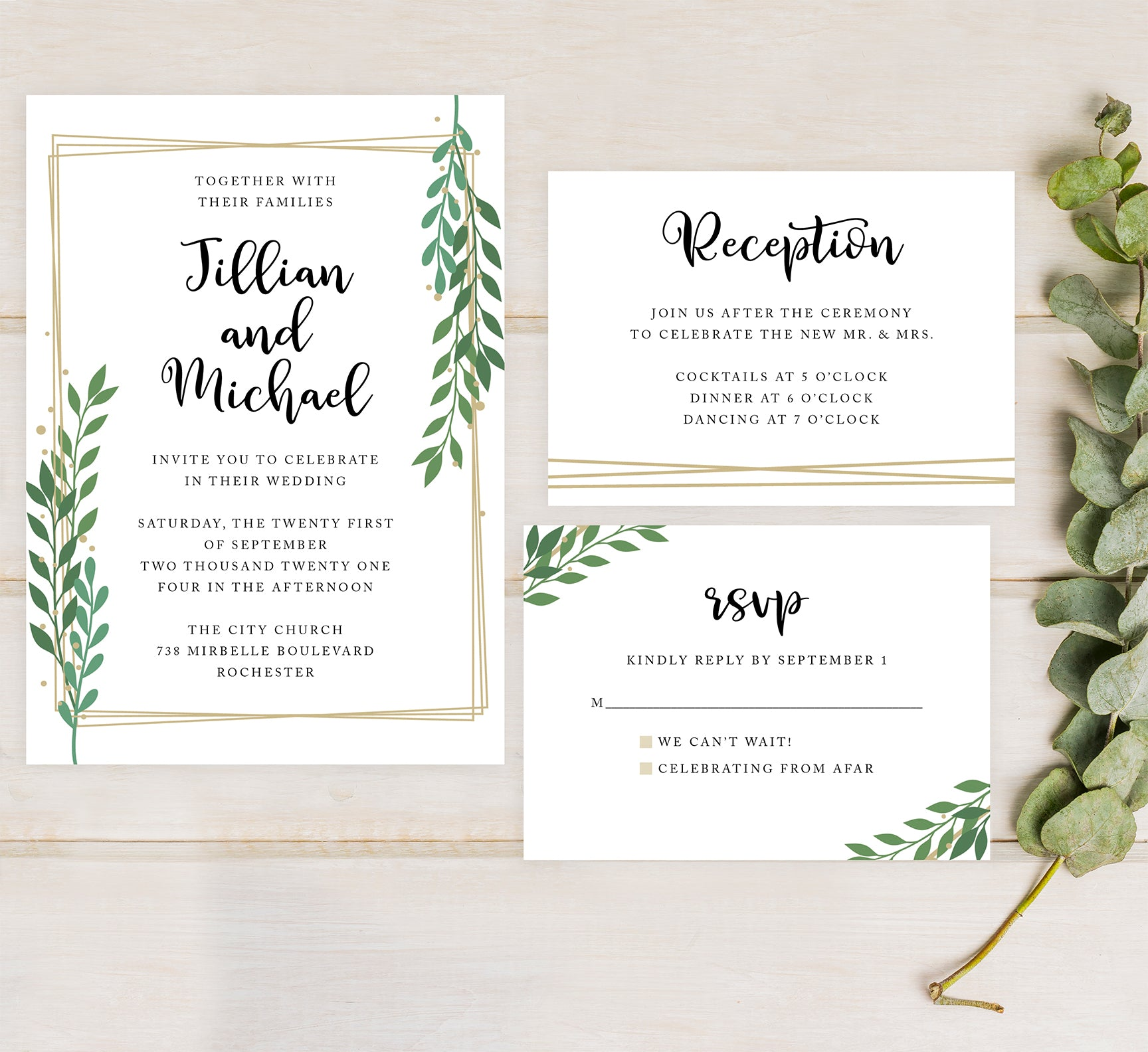 Gold Frame with Greenery Wedding Set Mockup