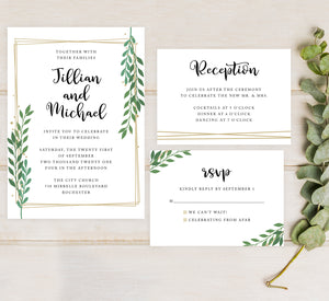 Gold Frame with Greenery Reception
