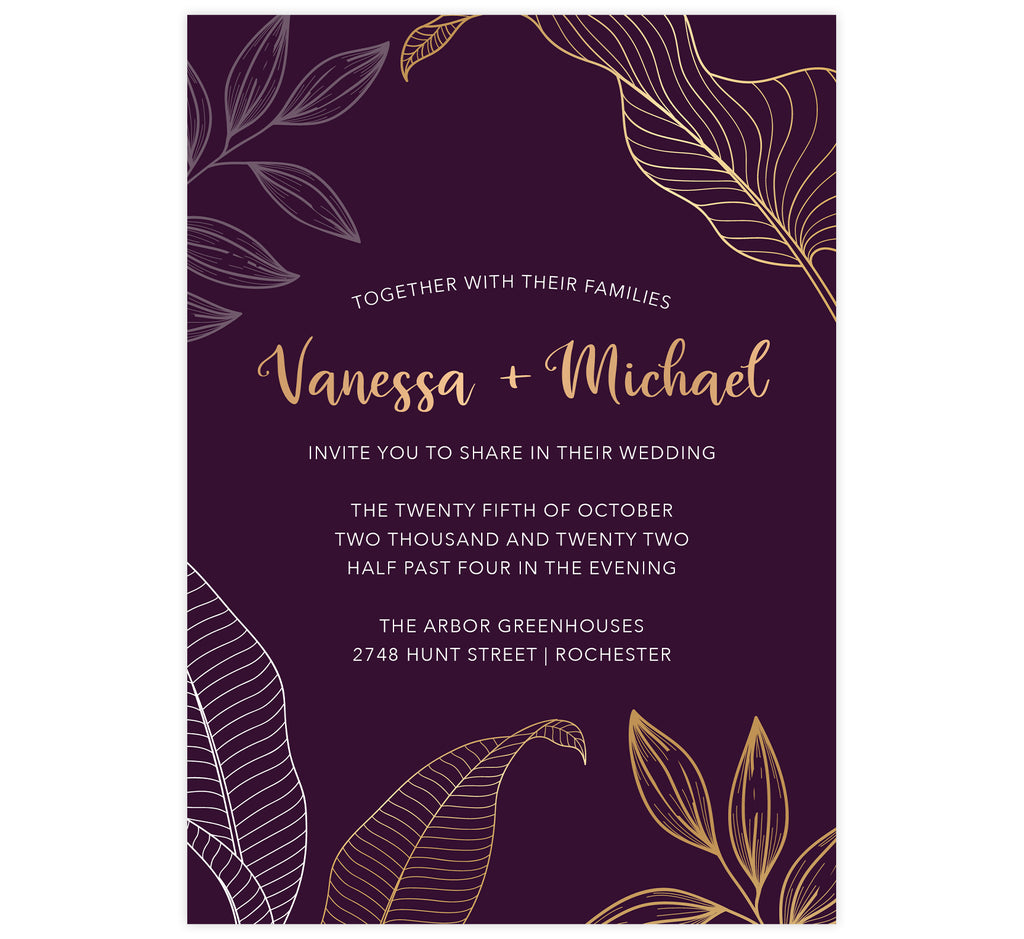 Modern Purple wedding invitation; deep purple background with oversized gold and white leaves