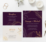 Load image into Gallery viewer, Modern Purple wedding invitation and set
