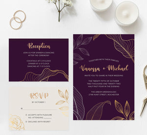 Modern Purple wedding invitation and set