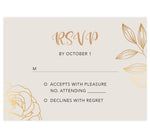 Load image into Gallery viewer, Modern Purple wedding response card; creme background with gold and black text and gold leaf and rose