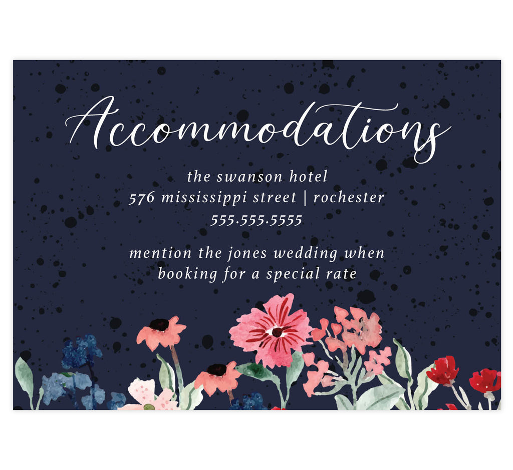 Watercolor Wildflower wedding accommodations/details card; dark navy textured background with watercolors on the bottom edge