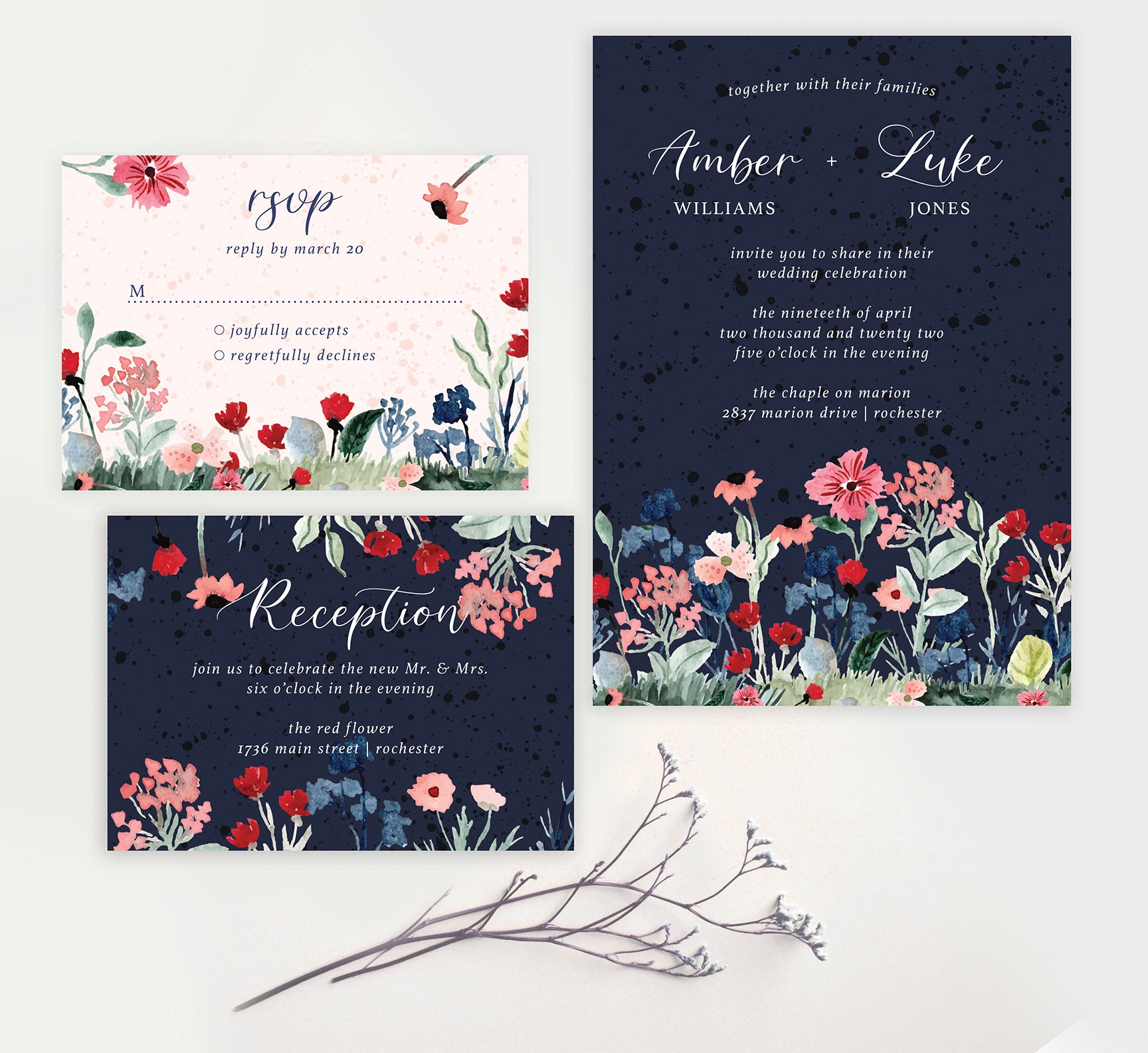 Watercolor Wildflower wedding invitation and set