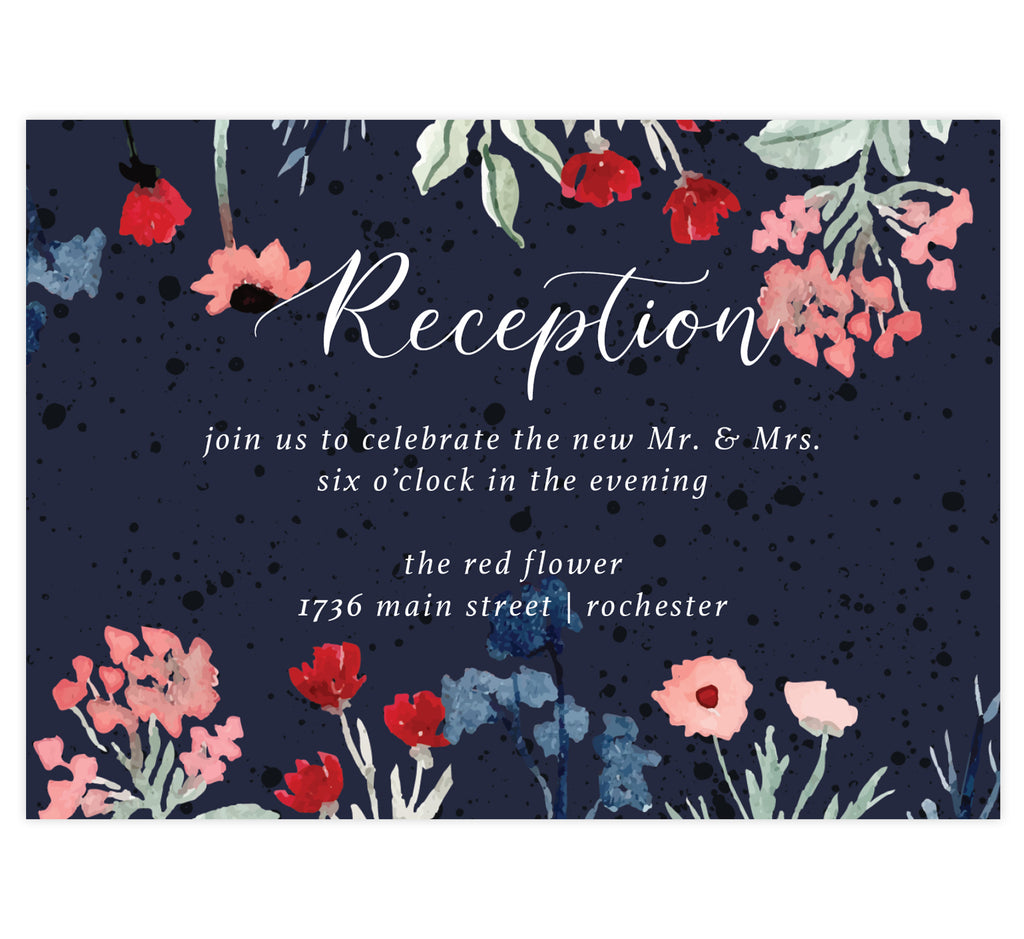 Watercolor Wildflower wedding reception card; dark navy textured background with white text and watercolor florals on the top and botttom edges