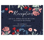 Load image into Gallery viewer, Watercolor Wildflower wedding reception card; dark navy textured background with white text and watercolor florals on the top and botttom edges