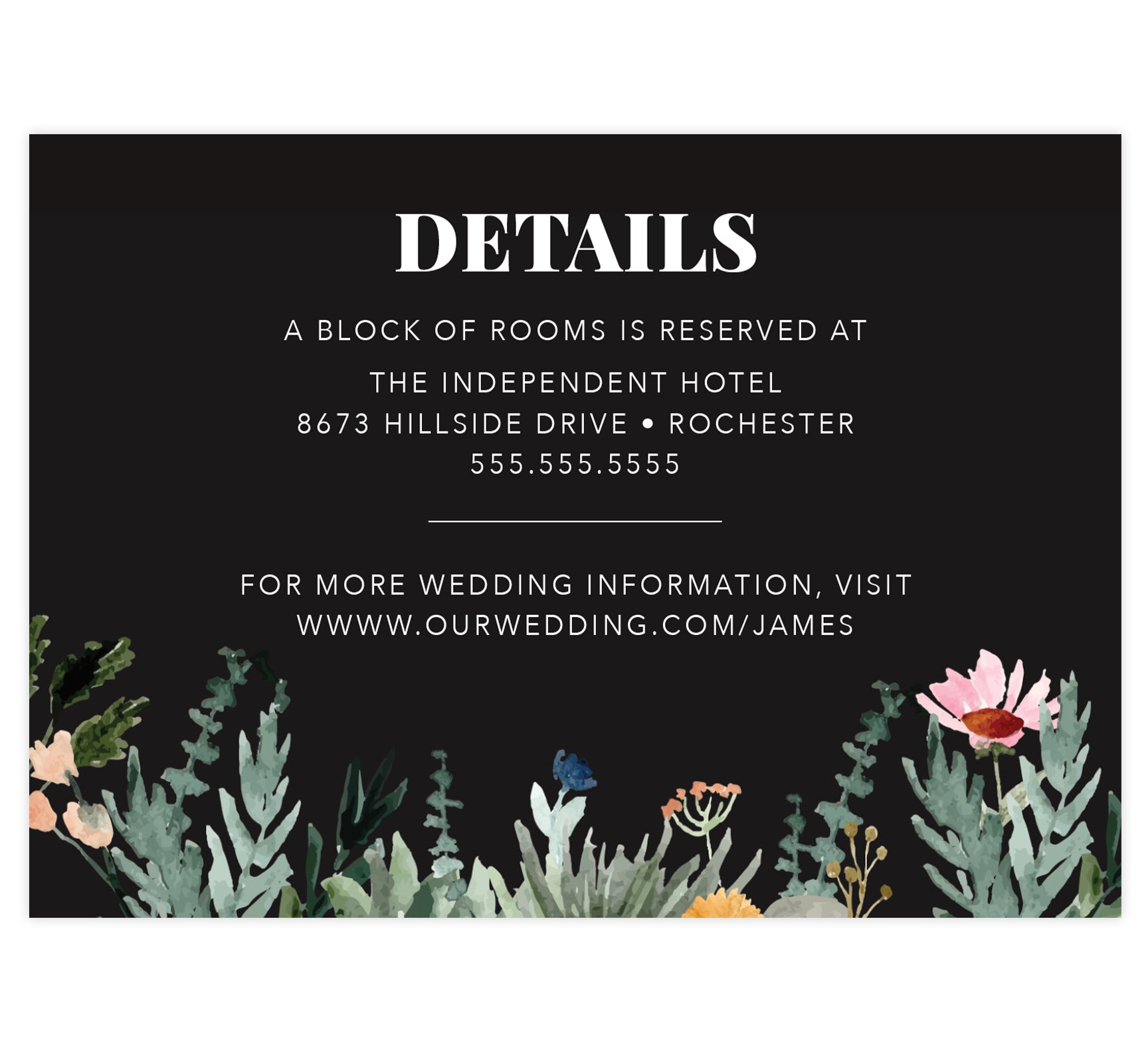 Backyard Love wedding detail/accommodation card; black background with watercolor greenery at the bottom and white text