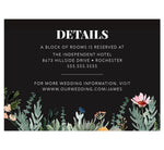 Load image into Gallery viewer, Backyard Love wedding detail/accommodation card; black background with watercolor greenery at the bottom and white text