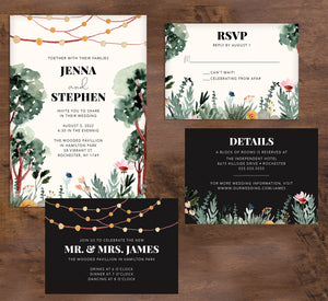 Backyard Love wedding invitation and set mockup