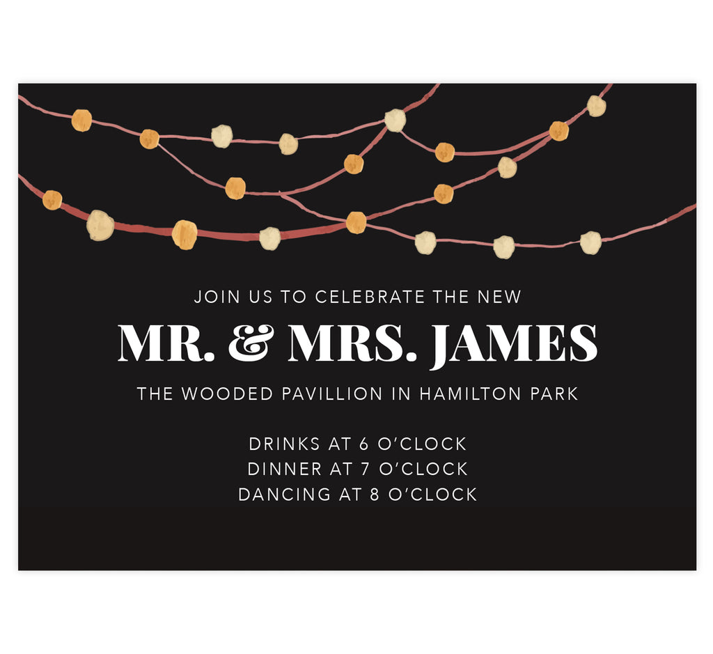 Backyard Love wedding reception card; black background with watercolor string lights at the top and white text