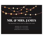 Load image into Gallery viewer, Backyard Love wedding reception card; black background with watercolor string lights at the top and white text