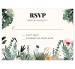Load image into Gallery viewer, Backyard Love wedding response card; watercolor greenery and trees on the bottom and side edges with black text