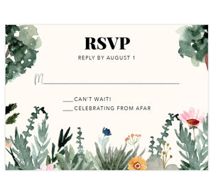 Backyard Love wedding response card; watercolor greenery and trees on the bottom and side edges with black text