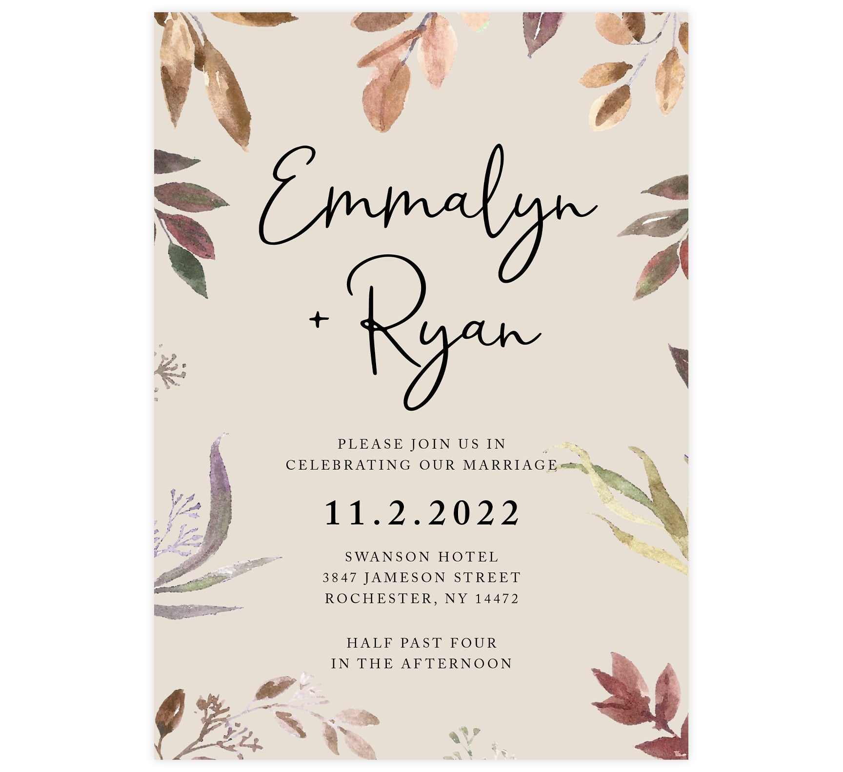 Golden Leaves wedding invitation; cream background with neutral colored watercolor leaves coming in from the edges and black text