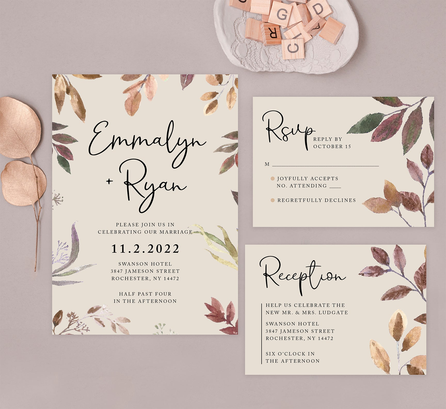 Golden Leaves wedding set mockup