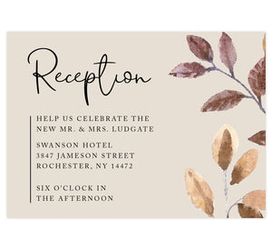 Golden Leaves wedding reception card; cream background with black text and watercolor leaves on right edge