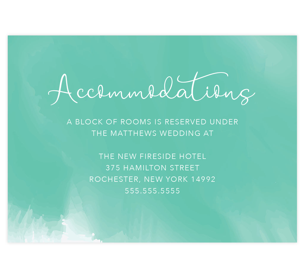 Tropic Teal wedding accommodations/details card; Bright teal watercolor background and white text