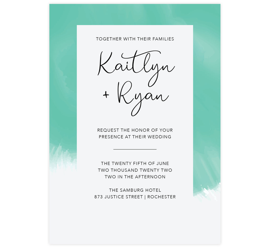 Tropic Teal wedding invitation; Thick teal frame around the invite that fades to white at the bottom with black text