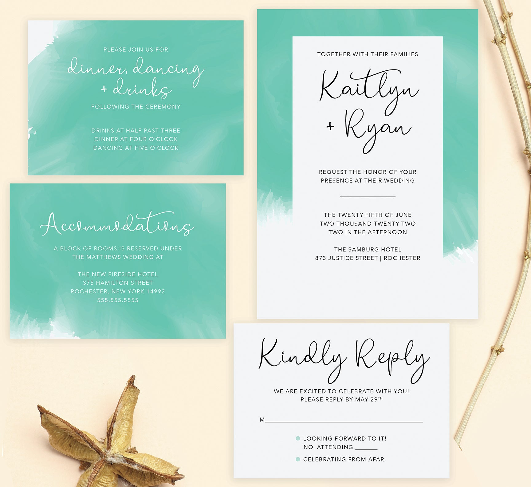 Tropic Teal wedding invitation and set
