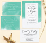 Load image into Gallery viewer, Tropic Teal wedding invitation and set