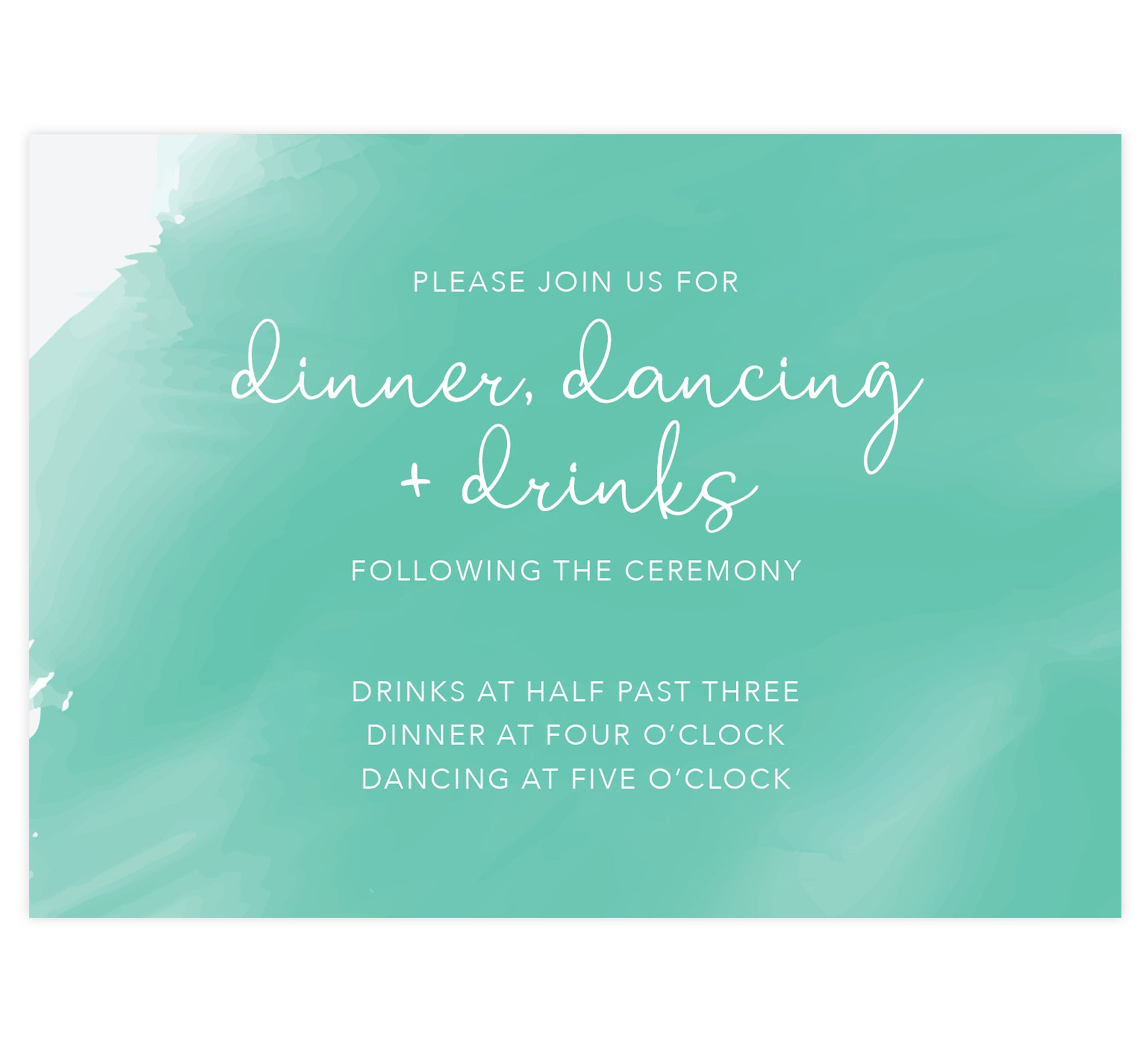 Tropic Teal wedding reception card; Bright teal watercolor background and white text