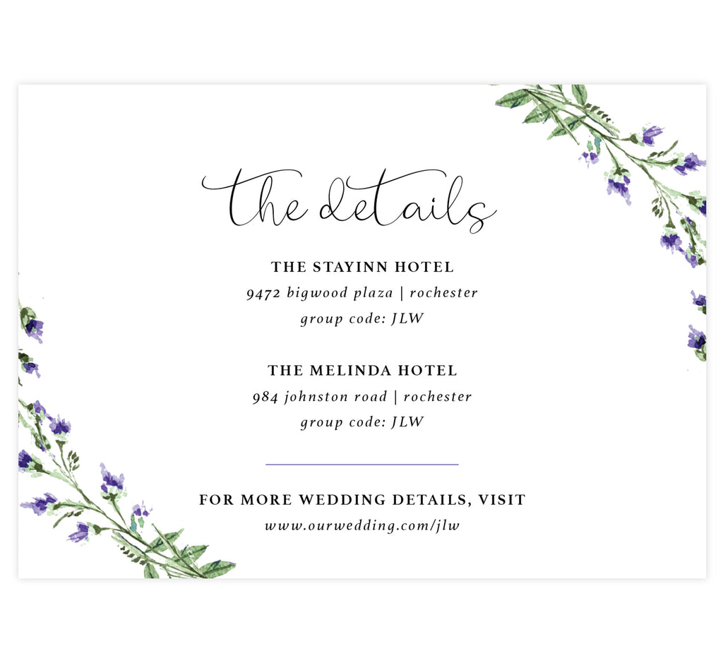 Lavender Wreath wedding accommodations/details card; white background with black text and watercolor lavender in the corners