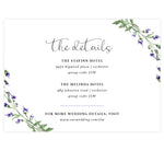 Load image into Gallery viewer, Lavender Wreath wedding accommodations/details card; white background with black text and watercolor lavender in the corners