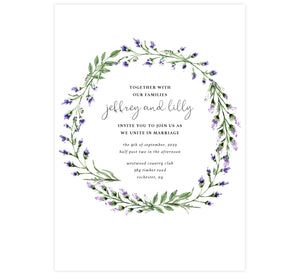 Lavender Wreath wedding invitation; white background with watercolor lavender leaves wreath surrounding the text
