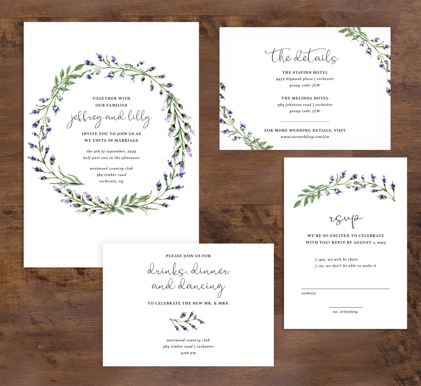 Lavender Wreath wedding set mockup