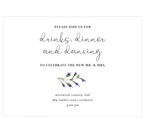 Lavender Wreath wedding reception card; white background with black text and lavender at the bottom