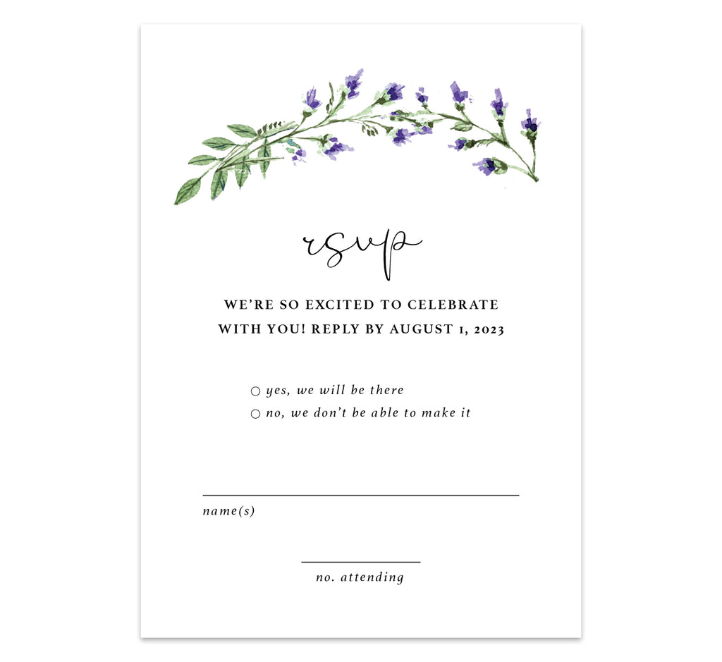 Lavender Wreath response card; white background with black text and lavender at the top