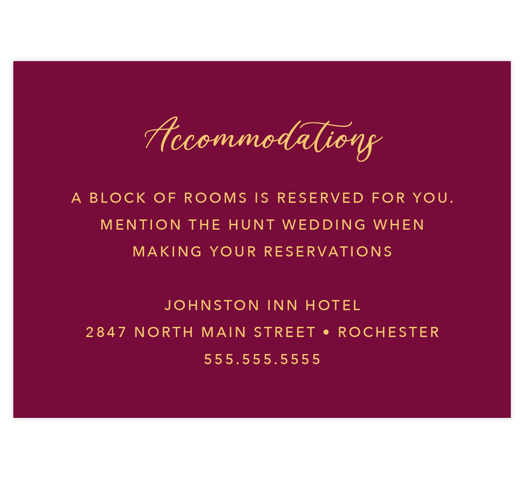 Dramatic Love wedding detail/accommodations card; dark red background with gold text