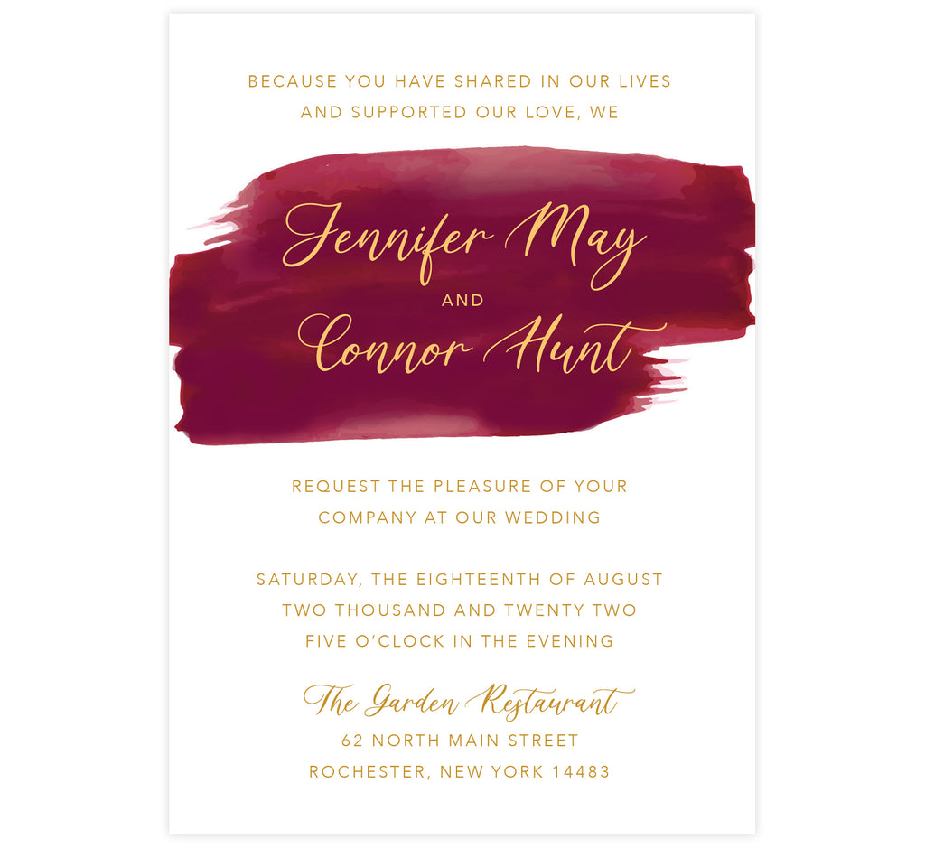 Dramatic Love wedding invitation; white background with red watercolor splash under the names and gold text