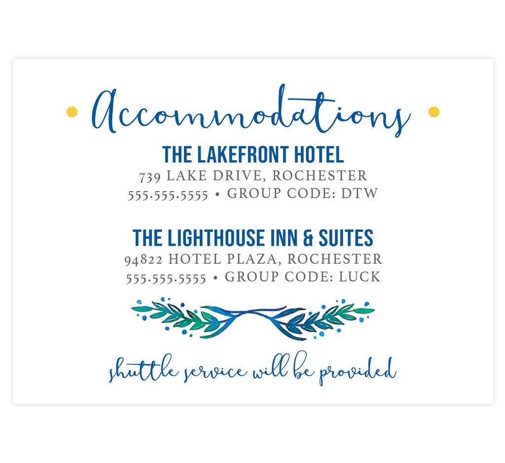 Seneca Lake wedding accommodations/details card; white background with blue text and watercolor leaves graphic.