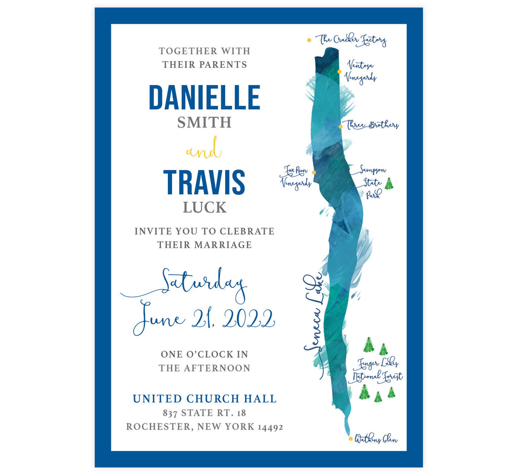 Seneca Lake wedding invitation; with custom designed Seneca Lake graphic on the right, thick blue border and pops of yellow