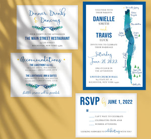 Seneca Lake wedding invitation and set