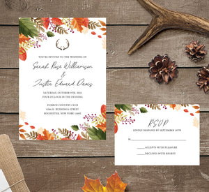 Rustic Fall wedding invitation and set