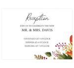 Load image into Gallery viewer, Rustic Fall wedding reception card; white background with black text and leaves in bottom right hand corner