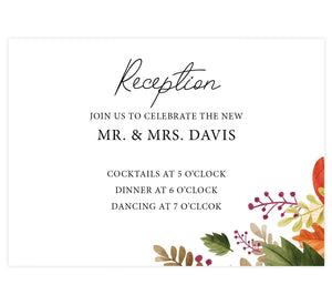 Rustic Fall wedding reception card; white background with black text and leaves in bottom right hand corner