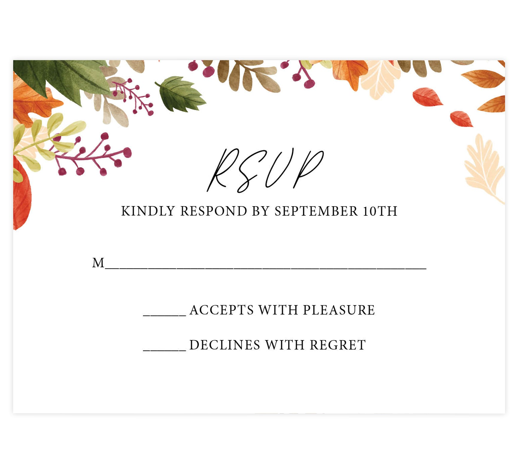 Rustic Fall wedding response card; white background with black text and leaves on the top edge