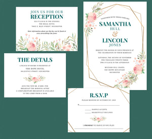 Pink and Teal Invitation