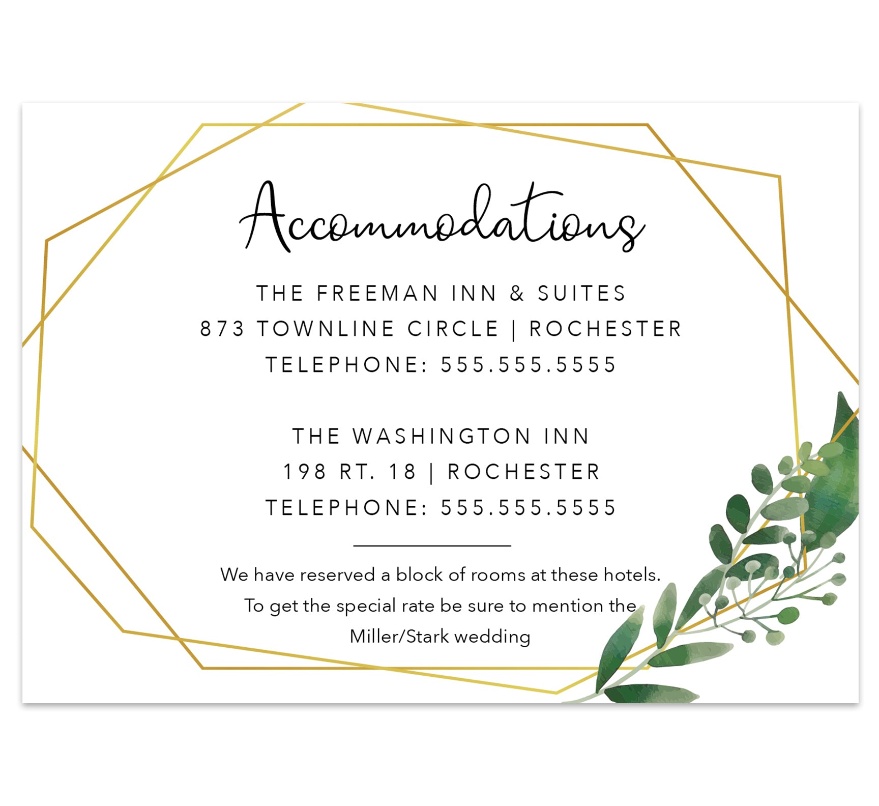 Watercolor Greenery wedding accommodations/details card; white background with gold frame and watercolor greenery