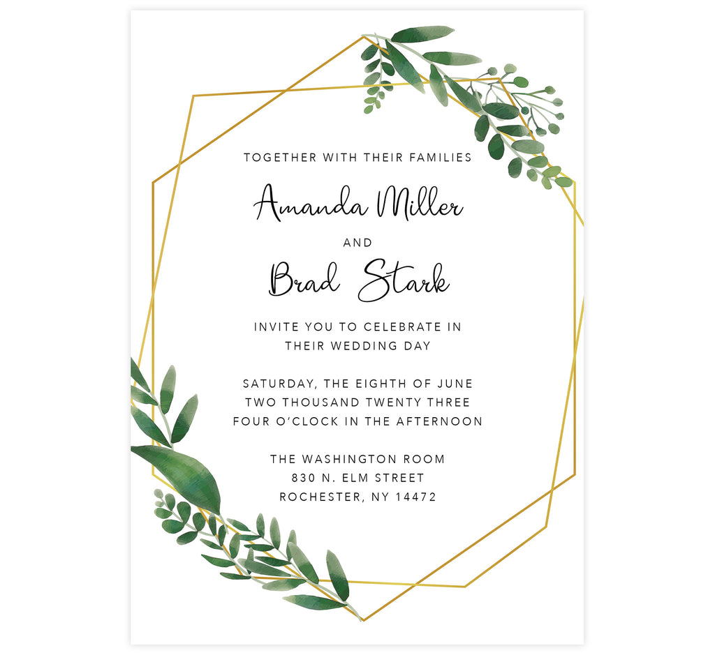 Watercolor Greenery Wedding Invitation; white background with gold frame and watercolor leaves