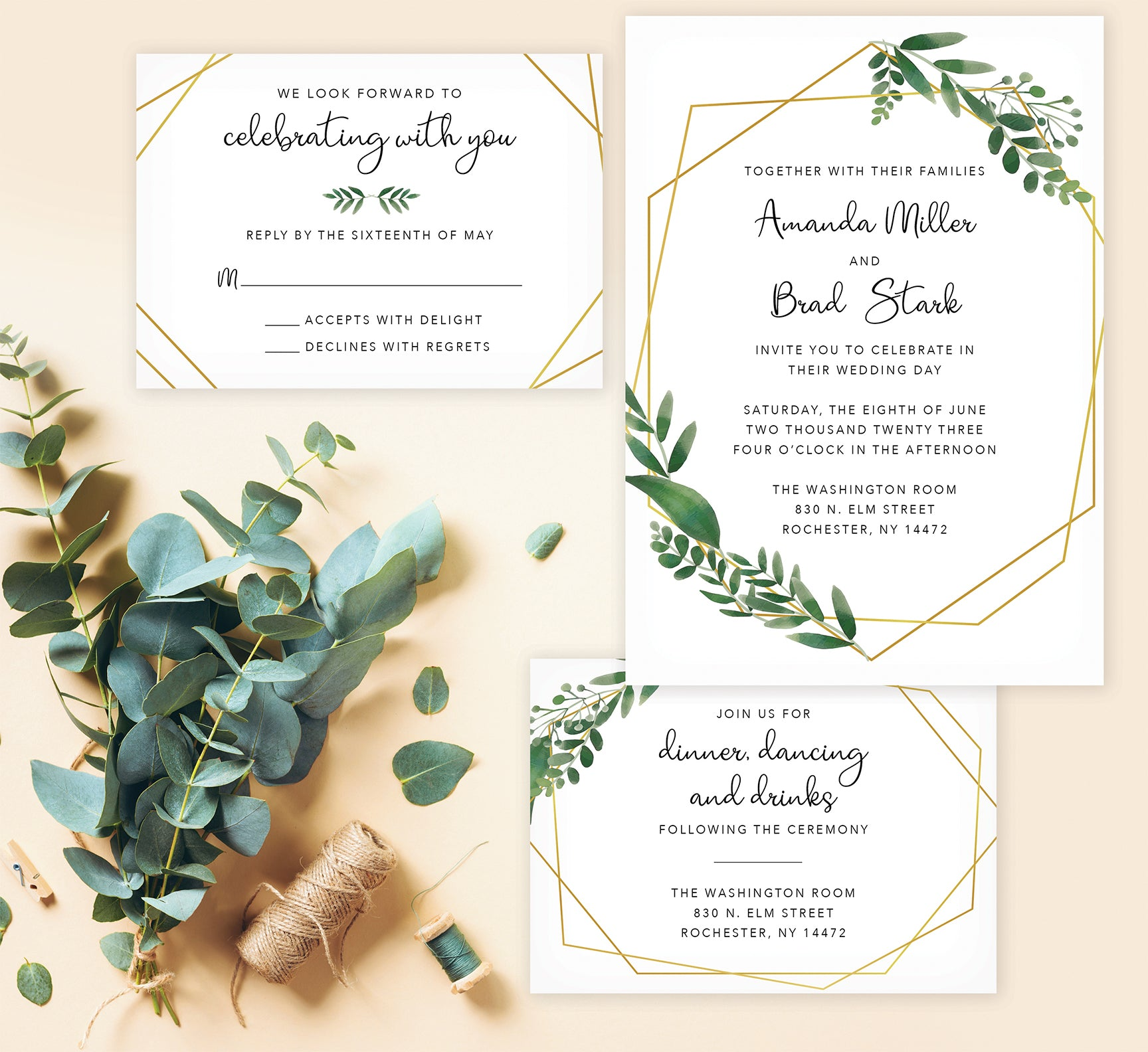 Watercolor Greenery wedding invitation and set