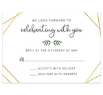 Load image into Gallery viewer, Watercolor Greenery wedding response card; white background with gold frame and greenery divider