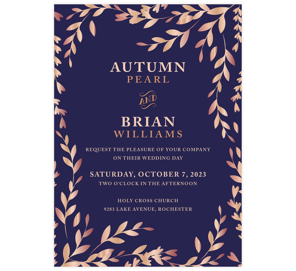 Rose Gold Leaves wedding invitation; purple background with rose gold leaves around the invitation and rose gold text