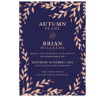 Load image into Gallery viewer, Rose Gold Leaves wedding invitation; purple background with rose gold leaves around the invitation and rose gold text
